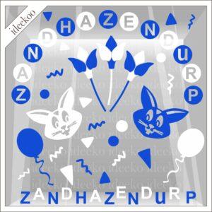 Carnaval sticker Zandhazendurp versierset